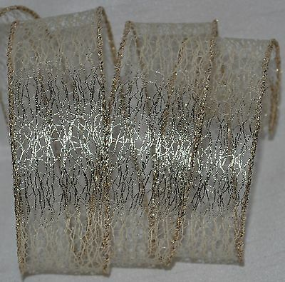 Wired Ribbon~glitz Gold Mesh~holiday Net~christmas~fall~wreath~gift~craft~bow