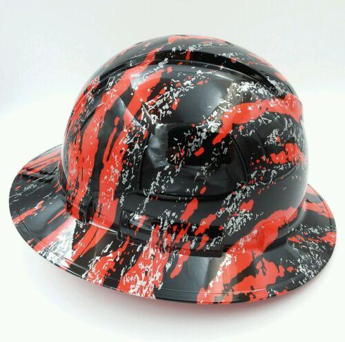 New Custom pyramex (Full Brim) Hard Hat HYDRO DIPPED IN RED URBAN CAMO FILM 2 2
