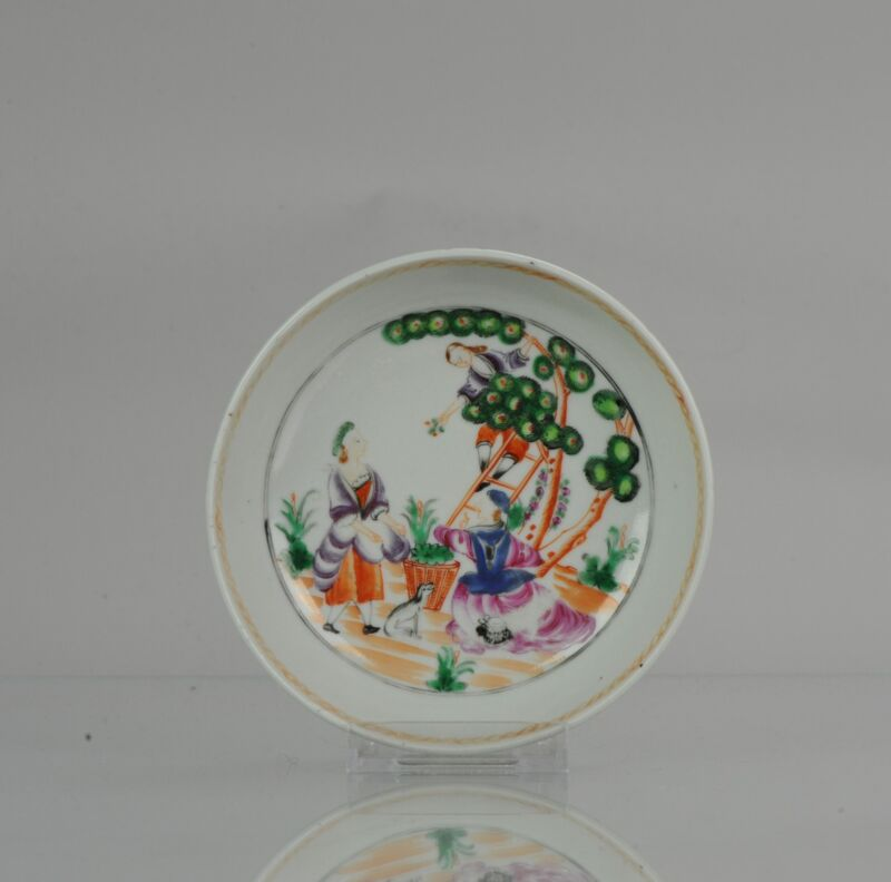 Antique 18th c Qianlong Cherry Pickers Qing Porcelain Tea Dish Chinese China