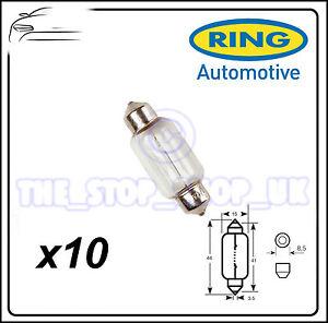 TRADE PACK of 10 Ring 15W Festoon Interior Bulb 12v 15v R267