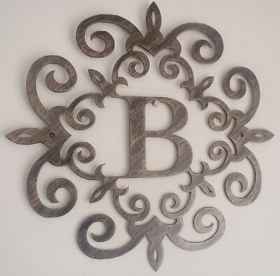 Monogram, Family Initial, Metal Art, Antique Look, ANY LETTER, Wall Decor