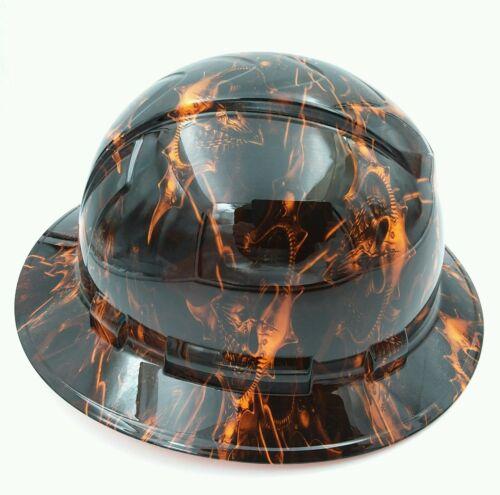 Hard Hat custom hydro dipped , FULL BRIM HELL RAISER SKULLS HI VIS ORANGE 2