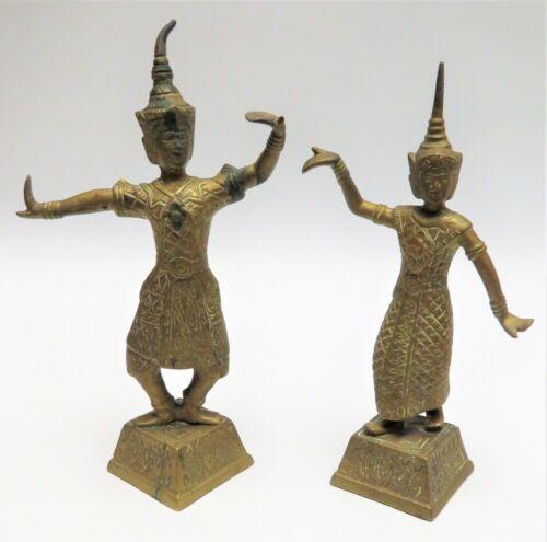 Antique? Vintage? Bronze Brass Copper Thai Siam Temple Dancer 2 Figures Statues