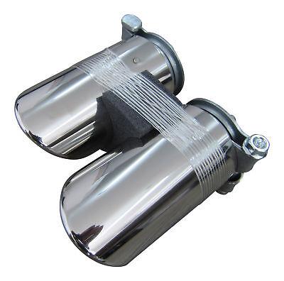 2x Premium Edelstahl Endrohre Original Qualität Einlass 50mm für viele Fahrzeuge