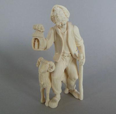 Hirte mit Schafbock für Krippenfiguren Größe 12 - 13 cm, Holz natur TB