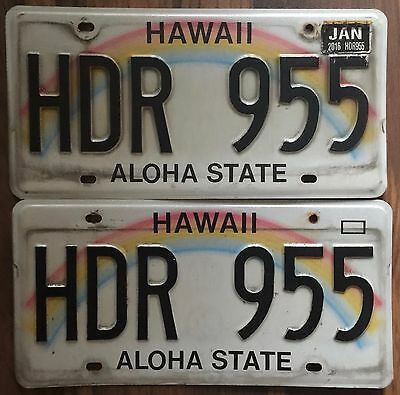 Hawaii Authentic Rainbow Aloha State Authentic License Plate Set Mint #HDR 955