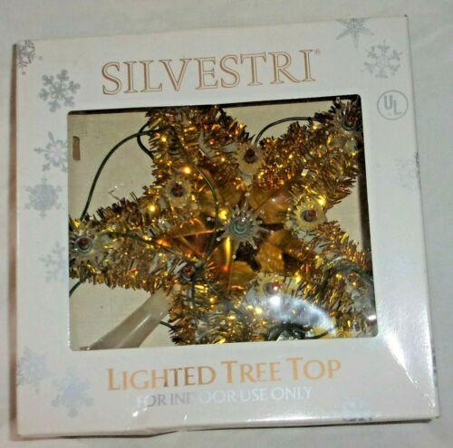 SILVESTRI Vintage 11 Lighted Tree Top Christmas Star Topper Starburst Tinsel w/&