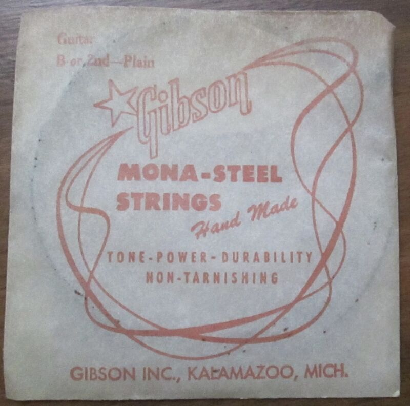 """Antique Vintage New Old Stock Gibson Guitar """"B"""" String in Original Package"""