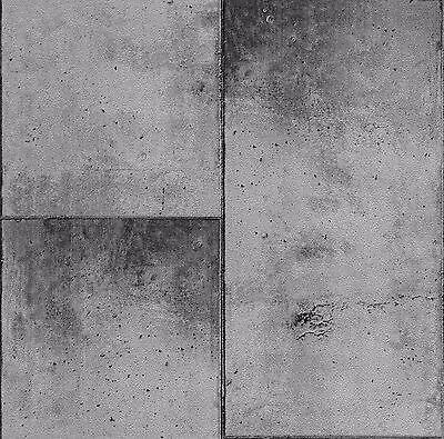 EUR 1,49/qm / P+S Tapete 05593-10 / Betonplatten Grau / Betonoptik Grau Silber