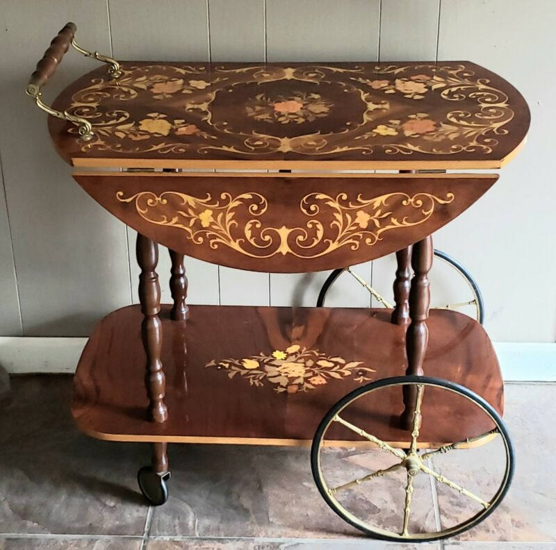 Vintage/Antique Italian Inlaid Marquetry Wood Serving Bar & Tea Cart Drop Leaf