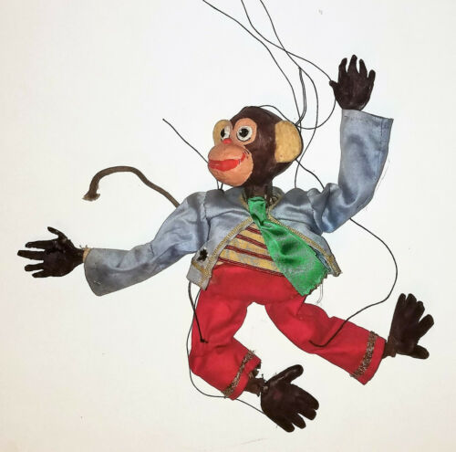 Vintage Handmade  MARIONETTE DRESSED MONKEY  professional made