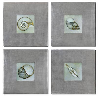 Beach House 4 Framed - Sea Shell Framed Wall Art Prints S/4 Coastal Beach House Decor