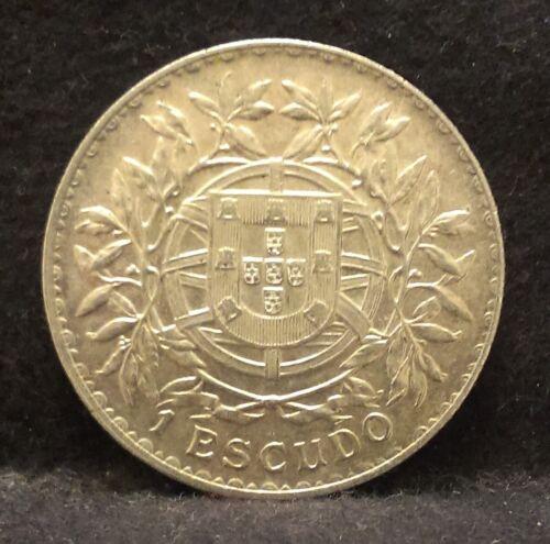 1915 Portugal silver escudo, large early Republic crown, nice high grade, KM-564