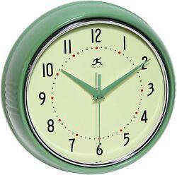 Infinity Instruments Retro 9-1/2-Inch Round Metal Wall Clock, Green