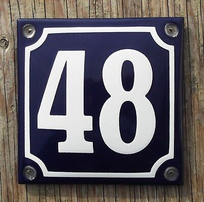 French style Vitreous Enamel House Numbers 1-99; 3-digit numbers to order