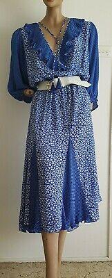 80s Dresses | Casual to Party Dresses Vintage 1980's Diane Freis Floral Print Georgette Dress with Neck Tassels 12/M $88.68 AT vintagedancer.com