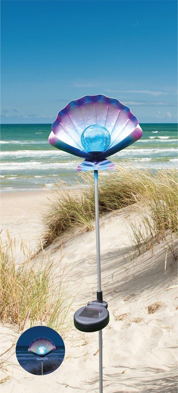 Solar- Gartenstecker Muschel LED mit Erdspiess Leuchten Garten Beleuchtung