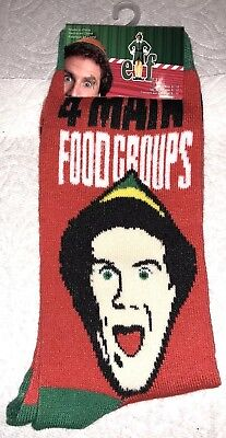 ELF Crew Socks 6-12 4 Main Food Groups Syrup Candy Canes Candy Corn Movie Buddy
