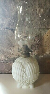 Antique Victorian Milk Glass Oil Lamp 1800's Shell pattern Queen Anne Burner