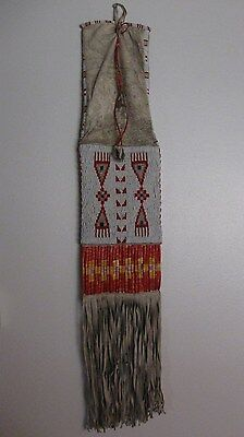 LAKOTA  SIOUX NATIVE AMERICAN INDIAN BEADED QUILLED PIPE BAG TABACCO LATE 1800