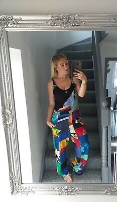 COLINE VTG RETRO 90'S BRIGHT BOLD LOUD HIPPY DUNGAREE JUMPSUIT ALL IN ONE UK 18