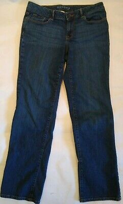 - Sonoma Womens 8 Straight Mid Rise blue Jeans Dark Stretch distress plain pockets