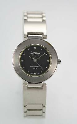 Activa Womens Watch Silver Stainless Steel 30m Water Resis Black Battery Quartz