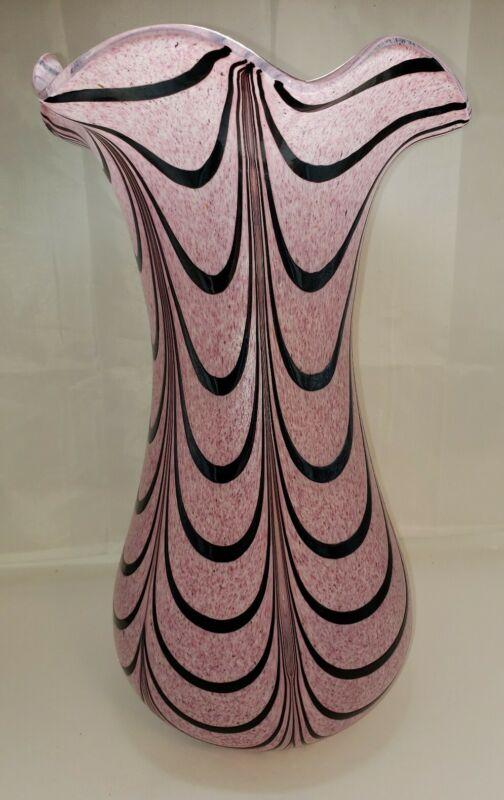 Pink Hand Blown VASE ART GLASS Ribbon Black