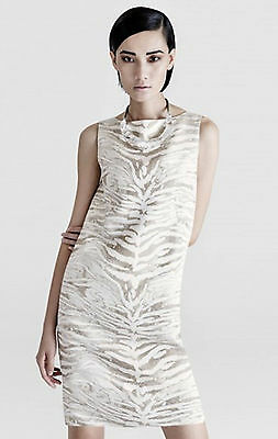 "SALE! NEW $598 LAFFAYETTE ""VALENTINA"" ZEBRA Text JAQUARD DRESS 10, L"
