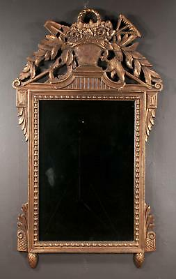 Venetian style gold gilt mirror with basket and floral carved top wit... Lot 360