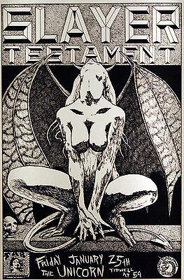 Slayer & Testament 1991 Original Houston, Tx Concert Poster By Frank Kozik