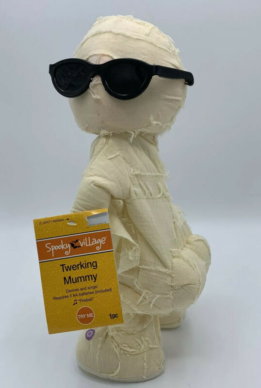 "Gemmy MUMMY Twerking Dancing Singing Animated 13"" Figure Halloween ""Fireball"""
