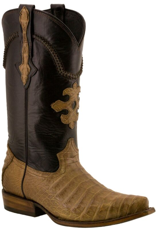 Mens, Light, Brown, Real, Crocodile, Belly, Exotic, Skin, Leather, Cowboy, Boots, Pointed