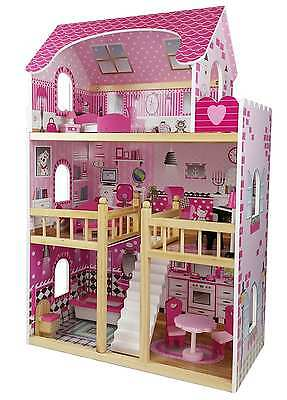 "Butternut Childrens Girls Pink large 3 Storey Wooden Dolls House fits 4"" Barbie"