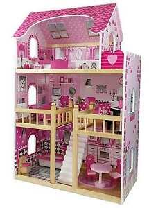 Butternut Childrens Girls Pink large 3 Storey Wooden Dolls House fits 4