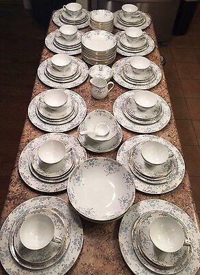92 Pc 12 People Dish China Set Blue Floral Gold Rim Seville Imperial W Dalton