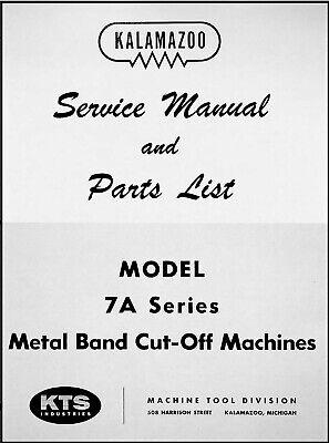 Kalamazoo Model 7a Bandsaw Service Parts Manual