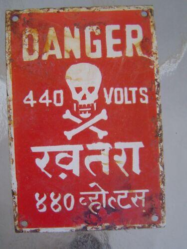Vintage 440 Volts Danger Porcelain Sign - Skull and Crossbones