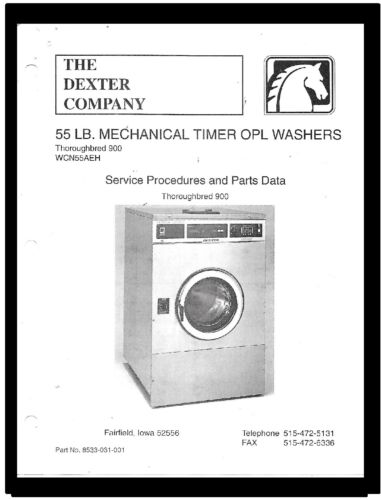 DEXTER  COMMERCIAL  WASHER  SERVICE  MANUAL  FOR  THOROUGHBRED  900