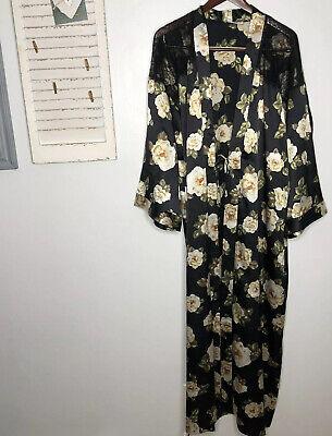 Vintage Valentino Intimo Women's Long Sleeve Kimono Style Floral Robe NO BELT