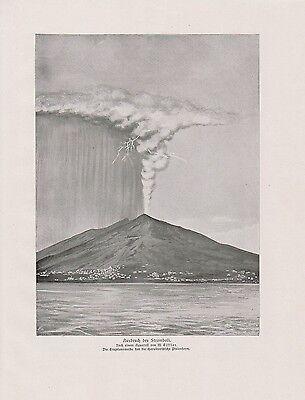 Ausbruch des Stromboli Vulkan DRUCK von 1912 Isola di Stromboli Struògnuli