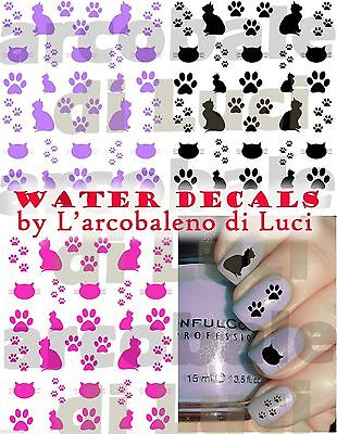 WATER DECALS ZAMPE GATTO CAT PAWS STICKERS UNGHIE NAIL ART ADESIVI TATTOO DECAL](Cat Paws Tattoo)