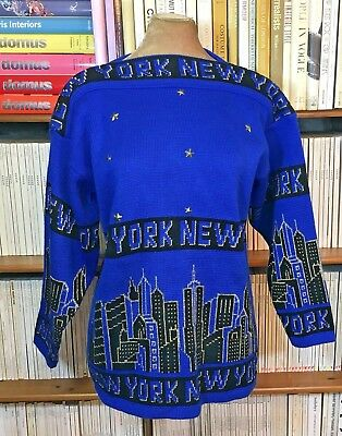 VTG 90s 80s ladies sweater jumper NEW YORK slogan logo streetwear UK 8-10 US 4-6
