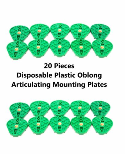 20 Pcs Dental Disposable Plastic Oblong Articulating Mounting Plates Green