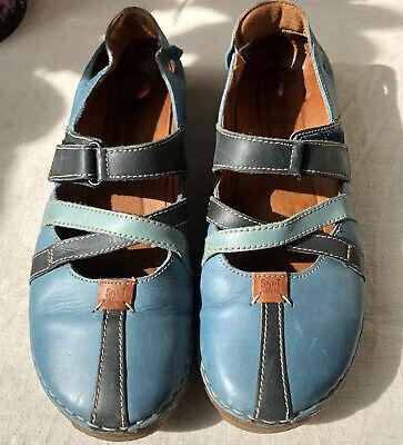 Josef Seibel Ladies Blue Cushioned Leather Mules  Size 39 UK 6 1/2