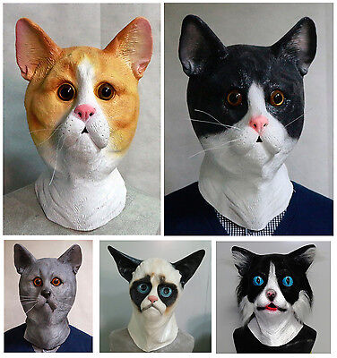 Latex Katze Maske Pussycat Kostüm für Tier Tabby Junggesellen Party Halloween