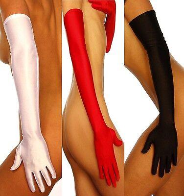 Satin Damen Handschuhe Stulpen Lang schwarz,weiß,rot