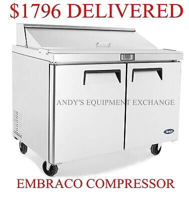 New 48 Sandwich Salad Prep Table 4 Ft Commercial Refrigerator 12 Stainless Pans