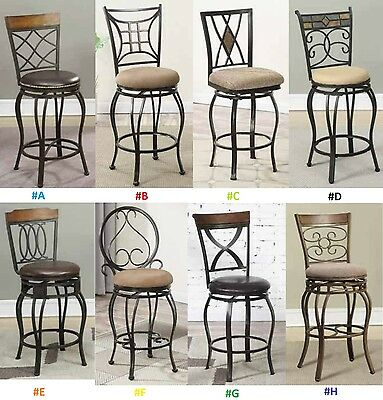 2 Metal Swivel Bar Stools (24'' Counter Bar Chairs Kitchen Patio Metal with Back Swivel Stools - Set of 2  )