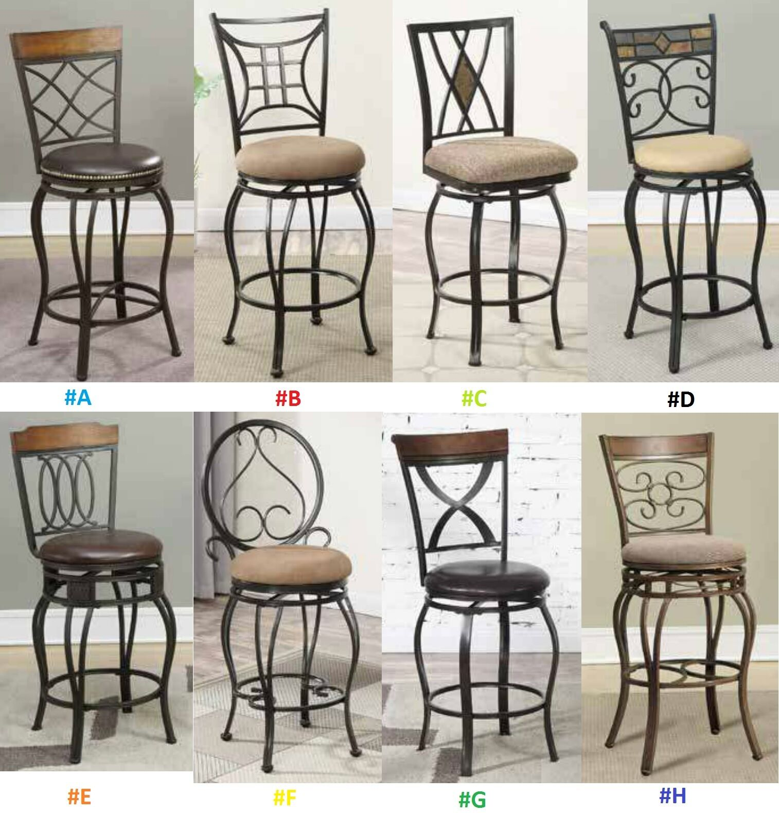 24'' Counter Bar Chairs Kitchen Patio Metal with Back Swivel